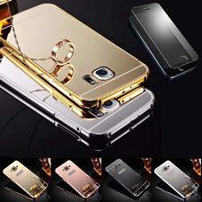 360° Handy Tasche Case Cover Schutz Hülle Spiegel Aluminium + Panzerglas Folie