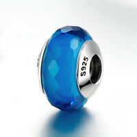 DIY European 925 Sterling Silver Fascinating Aqua Murano Glass fit Bracelet