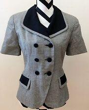 PRESTON & YORK petites B&W houndstooth lined jacket blazer size 6  #48