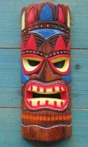 "TIKI MASK WOOD 12"" HAWAIIAN AFRICAN HOME DECOR TRIBAL BAR TROPICAL POLYNESIAN"