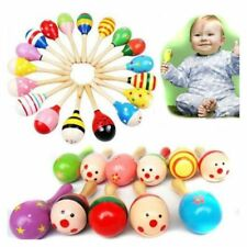 Wooden Maraca Rattles Musical Instrument Baby Shaker Toy Kids Party Toys NEW