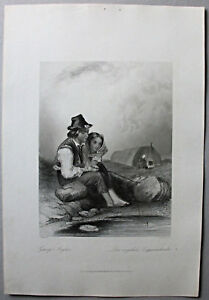 Angeln - Der angelnde Zigeunerknabe - Stich, Stahlstich W.French um 1870