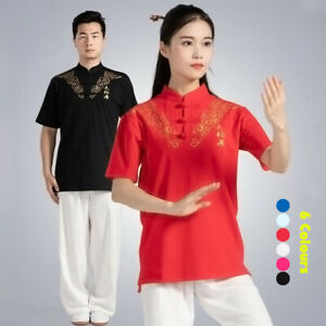 Chinese Kung Fu Tai Chi T-Shirt Shirts Tops Martial Arts Wushu Training Clothes