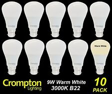 10 x LED 9W Pearl Light Globes / Bulbs A60 Bayonet B22 Warm White 3000K