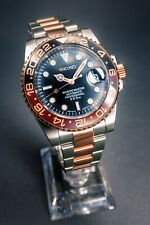 Custom Seiko NH36A Rootbeer Two-Tone Rose Gold 40mm Submariner Divers Mod Watch