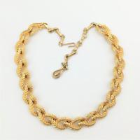 Vintage Leaf Necklace Textured Gold Tone Collar Mid Century Modern Jewellery