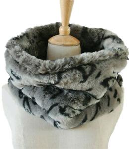 ELSA & ANNA® Leopard Print Lady Circle Loop Scarf Snood Faux Fur Scarves SCF43