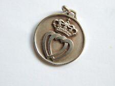Ancien pendentif / médaille coeurs de vendée, couronne blason collier emblème