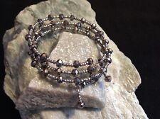 metallic faceted & metallic seed bead memory wire bracelet