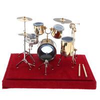 1/12 Dollhouse Miniature Copper Drum Set Model Musical Instrument Decoration