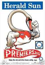 KNIGHT 2012 AFL Herald Sun Limited Edition SYDNEY Swans PREMIERS POSTER 946/1000