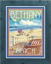 Bethany Beach Chair (Framed) Vintage Art Deco Travel Poster -by Aurelio Grisanty