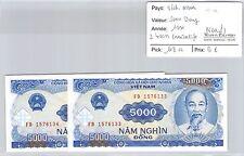 2 BILLETS VIETNAM - 5000 DONG 1991 - BILLETS CONSÉCUTIFS - NEUFS !!! **