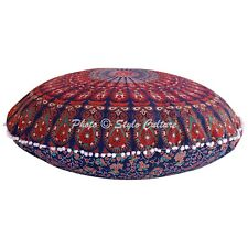 Round Floor Pillow Cover Mandala Peacock Feather Pom Pom 32x32 Cotton Hassock