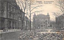 AK Chemnitz Am Beckerdenkmal Rathaus Dresdner Bank Postkarte gel. 1909