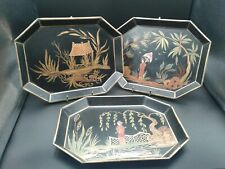 "3 Vintage Miniature Asian Hand Painted Metal Tray 8 1/2""×6 1/2"""