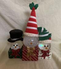 Vintage Kcare Brand Snowman Trio Musical Snowglobe Decoration