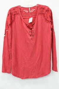 Free People NWT Coral Jersey Lace Lace Up Top Size M