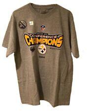 Reebok NFL 2008 AFC Champions Pittsburg Steelers Gray Shirt Size Medium