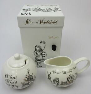 Alice In Wonderland Illustrations V&A China Sugar Bowl & Creamer In Gift Box