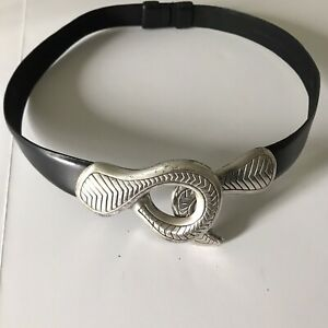 """Chico's black leather belt with silver snake buckle NOT ADJUSTABLE 37"""" size S"""
