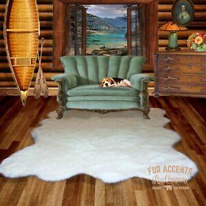 Shag White Shag Faux Sheepskin Random Shape Bear Skin Area Rug Large Pelt Design