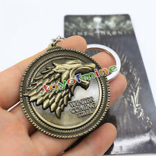 Bronze HBO Game of Thrones House Stark Head Pendant Metal Keyring Keychain