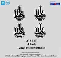 """4- Pack 2"""" x 1.5"""" F Trudeau Finger Sticker Pack"""