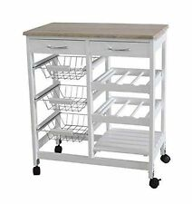 White Wooden MDF Bamboo Kitchen Trolley Island Dining Cart Worktop Basket UK Dis