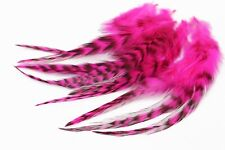 30 pcs/lot UV Hot Pink Black Barred Grizzly Rooster Hackles Fly Tying Feathers