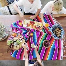 Mexican Rainbow Blanket Yoga Picnic Camping Cloak Rug Home Tapestry Shawl