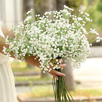 2x Artificial Fake Silk & Plastic Flower Gypsophila Floral Plant Wedding Decor