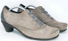 Naot Israel Womens 38 EU 7 US Royal Shadow Gray Taupe Nubuck Oxfords Heels Shoes