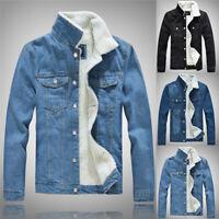 Men Winter Fur Lined Denim Jacket Casual Warm Trucker Jeans Coat Punk Outwear
