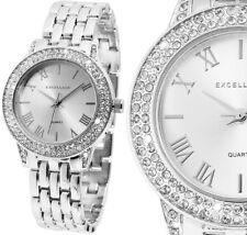 Damen Armbanduhr Silber Crystal-Besatz Metallarmband von Excellanc 180/037