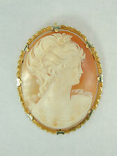 2879 Xtra Large Brooch Pin Solid 18k Yellow Gold & Hand Carved Cameo 54mm x 42mm