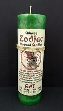Green Pillar Candle Scented with Chinese Zodiac Rat Symbol Necklace Hemp Twine