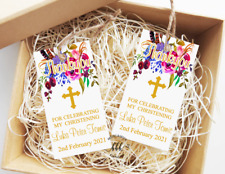 10 Gift Tags Baptism Christening Confirmation Bomboniere Personalised Candle one