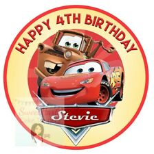CARS CAKE TOPPER PERSONALISED LIGHTNING MCQUEEN EDIBLE ICING CAKE DECORATION