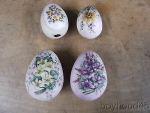 Group of 4 Decorative Hand Painted Porcelain Eggs-Lovely Decorator Items!! (1)