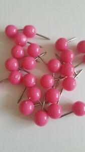 25 Pink Map Tacks Push Pins Plastic Head with Steel Point, 1/ 3 Inch