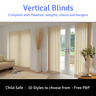 Vertical Blinds & Headrail Complete kit - White or Cream - Made to measure