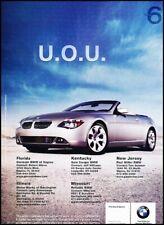 2004 BMW 645Ci Convertible 6-Series - Original Advertisement Print Art Ad J631
