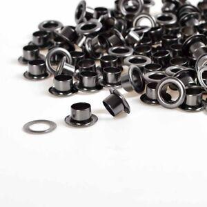 Gunmetal Blak 100 Sets 6/8/10mm Leather Craft Eyelets w/Grommets Rings Banner