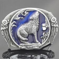 Western Silver & Blue Howling Wolf Alchemy Coyote Feather Cowboy Belt Buckle H9