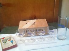 Seagrams Gin Glass Pourer Martini Set with 4 Glasses Vintage, Blue writing w/rod