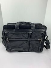 Black Leather Tumi Briefcase Laptop Bag