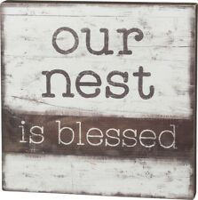 "NEW!~PRIMITIVE WOOD BOX SIGN~""Our Nest Is Blessed""~Cottage Chic/Shabby/Bird/Home"