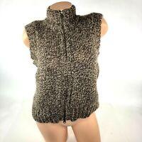 Sundance Womens Sweater Vest Size L Large Brown Alpaca Lambswool Zip Front A25