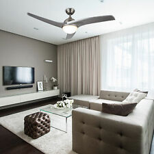 """Modern 52"""" Ceiling Fan with Led Panel Light & Remote Silver Color Blades"""